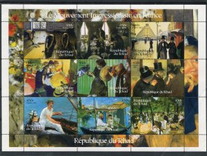 Chad 2001 IMPRESSIONIST Paintings Sheet Perforated Mint (NH)