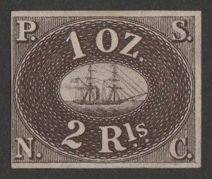 PERU : 1857 Pacific Steam Navigation Co 2R brown, unissued. Only 800 printed.