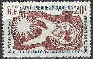St. Pierre & Miquelon  356  MNH  Declaration of Human Rights 1958