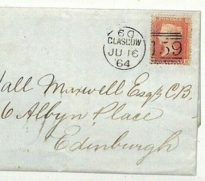 GB SG.39 Cover SCOTLAND Edinburgh Glasgow Penny Red 1864 {samwells-covers} NN250