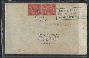 BRITISH HONDURAS  (P2808B) 1929 KGV 2CX2 COVER PAQUEBOT NEW ORLEANS TO USA