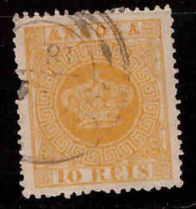 Angola Scott 2c perf 13.5 Crown stamp pulled perf at left