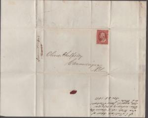 *US 19th Century Cover Scott #10a, 3 Margin Folded Letter, Pen Cancel