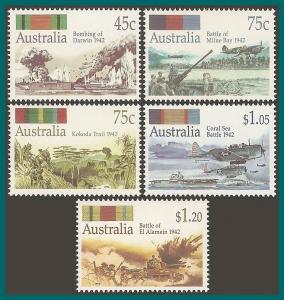 Australia  1992 World War II, MNH  #1253-1257,SG1338-SG1342