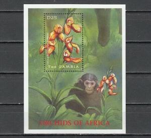 Gambia,  Scott cat. 2482. Orchid s/sheet. Monkey in design.