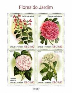 Sao Tome & Principe 2021 MNH Garden Flowers Stamps Camellias Peonies 4v M/S