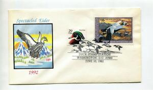 1992 DUCK STAMP Used of First Day Cover - NICE face $15.00