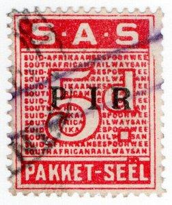 (I.B) South Africa Railways : Parcel Stamp 5d (Afrikaans)
