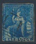 Barbados SG 4 SC# 2  Used  Deep Blue 1+ margins please see scans for details