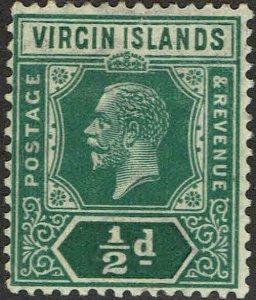 VIRGIN ISLANDS #47 1921 1/2p GEORGE V ISSUE-MINT-OG/HINGED--F/VF