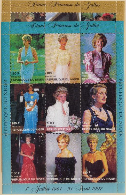 NIGER MNH Scott # 944-945 Princess Di - Perf Sheets (18 Stamps) -2