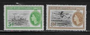 Turks & Caicos Islands 119-20 1955 Definitives set NH
