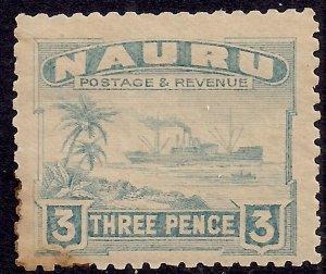 Nauru 1924 – 28 KGV 3d Century Freighter MM Toned on rear SG 31a ( F699 )