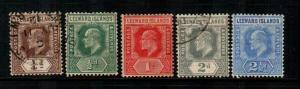 Leeward Islands #41-45 M & U  Scott $43.80