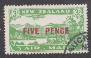 NEW ZEALAND 1931 5d on 3d airmail fine used - ACS cat NZ$30.................M450