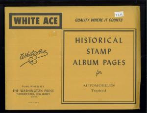 White Ace Historical Stamp Album Blank Pages Automobiles Topical - Pack of 12