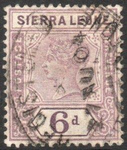 SIERRA LEONE-1897 6d Dull Mauve Sg 49 GOOD USED V42946