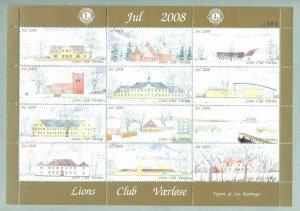 Denmark. Christmas Sheet 2008. Local: Lions Club Værløse. Churches And Houses