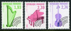 France 2237-2239, MNH. Musical Instruments. Harp, Piano, Violin, 1990