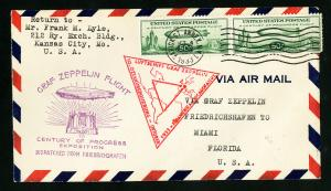 US Stamps # C18 VF Used Pair on 1933 Flight Cover New York To Miami