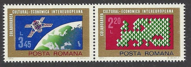 Romania 1974 Space Satellite VF MNH (2484a)