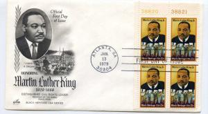 1771 Martin Luther King, Black Heritage 1979, ArtCraft plate block FDC
