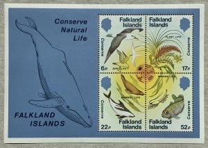 Falkland Islands 1984 Wildlife Conservation MS - crease.  Scott 415a, CV $7.00