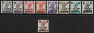 INDIA-GWALIOR SG129/37 1949 LOCAL OVERPRINT SET MTD MINT