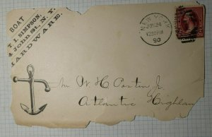 US Ad Cover 1890 Boat Hardware Anchor NY Sc# 214D Used On Piece
