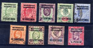 Morocco Agencies 1907 sg 112 - 120 Edward VII set to 10d  used