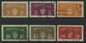 Norway 1933 Officials 2 ore to 20 ore used