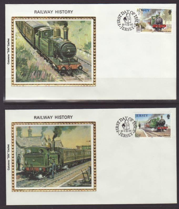 Jersey 361-365 Trains 1985 Colorano S/5 U/A FDC