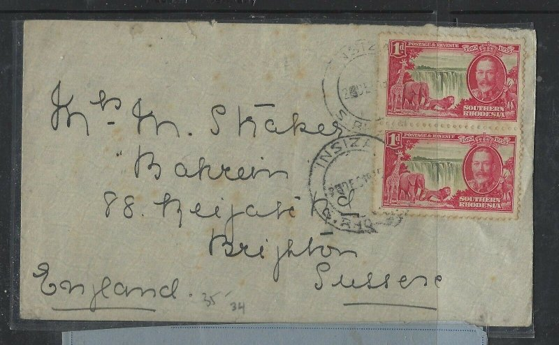 SOUTHERN RHODESIA COVER (PP1804B) 1935 KGV 1DX2 SILVER JUBILEE WATERFALLS TO UK