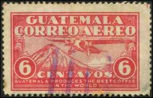 Guatemala SC# C7 Airplane and Mount Aqua Used