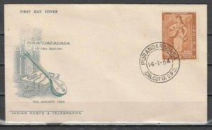 India, Scott cat. 382. Musician with Instrument issue on a First day cover. *
