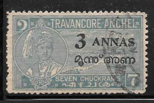 India Travancore-Cochin 6m: 3a on 7ch Cape Comorin, used, F-VF