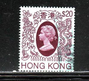 Hong Kong-Sc #402-used-$20 lt blue & lake-1982-QEII-