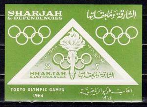 Sharjah, Michel cat. 106, BL10. Tokyo Olympics s/sheet.