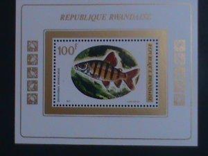 RWANDA-1973-SC#549-COLORFUL LOVELY SIX LINES DISTICHODUS FISH MNH S/S VF