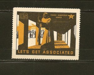 Tydol Flying A Lets Get Associated Padre Junipero Serra 1930's Poster Stamp