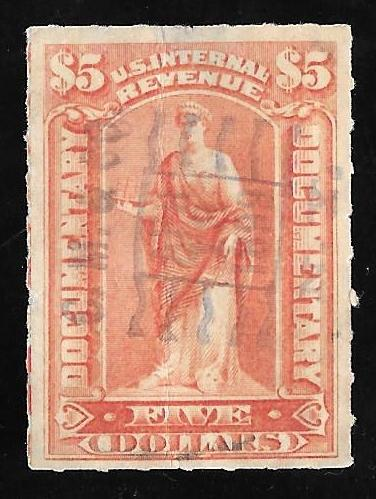 R175 5 Dollars SUPER CANCEL Documentary Stamps used VF
