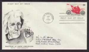 US 1261 Battle of New Orleans Marg Typed FDC
