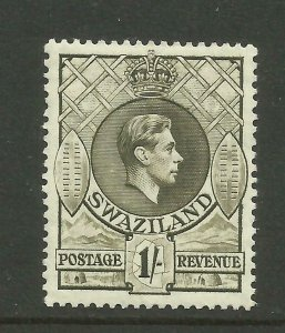 SWAZILAND 1938/54 Sg 35, 1/- Brown Olive perf 13.5x13, Mounted Mint. {Box 5-17}