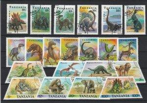Tanzania Various Dinosaurs & Wild Animals Stamps Ref 24939
