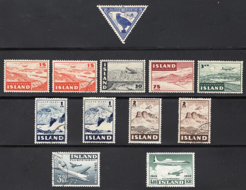Iceland Air Post Group(12) - Unused - O.G. and Used - Includes #C3 O.G.- L.H.