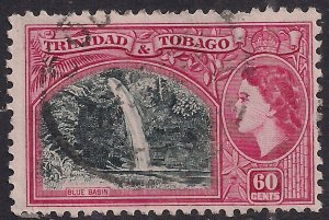 Trinidad & Tobago 1953 - 59 QE2 60ct Black green & Camine used SG 276 ( F566 )