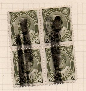 Canada Sc 94 1904 20c olive green E VII stamp block of 4 used