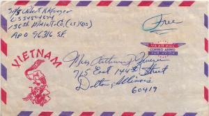 United States Vietnam War Soldier's Free Mail 1967 [APO 96316] 136th Maintena...
