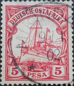 German East Africa 1901 Five Pesa with MIKINDANI postmark