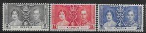 CYPRUS SG148/50 1937 CORONATION SET MTD MINT